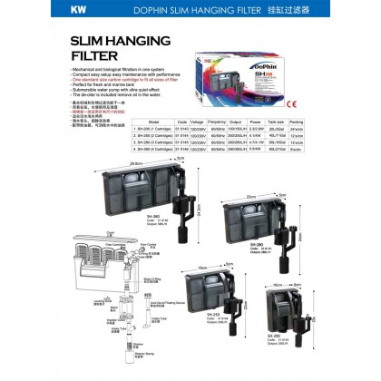 Dophin SH250 Slim Hanging Filter 250L/H